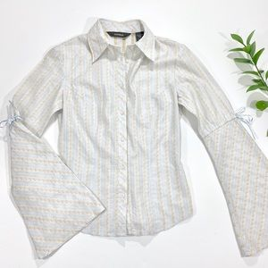 EXPRESS Pale Blue Gold Trumpet Sleeve Button Down